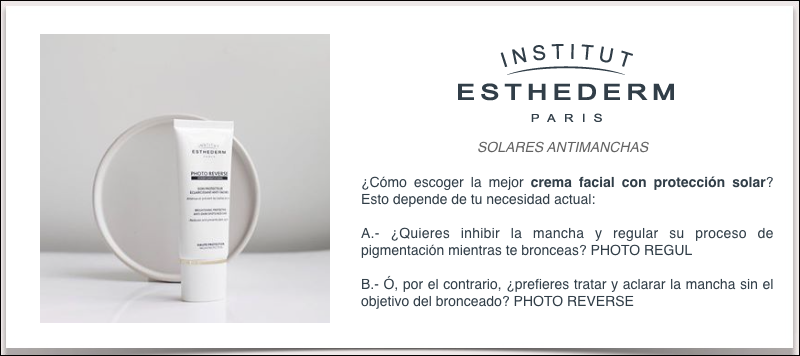 Institut esthederm solares antimanchas photo regul y reverse